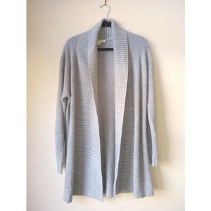 Michael Michael Kors Gray Knit Long Open Cardigan